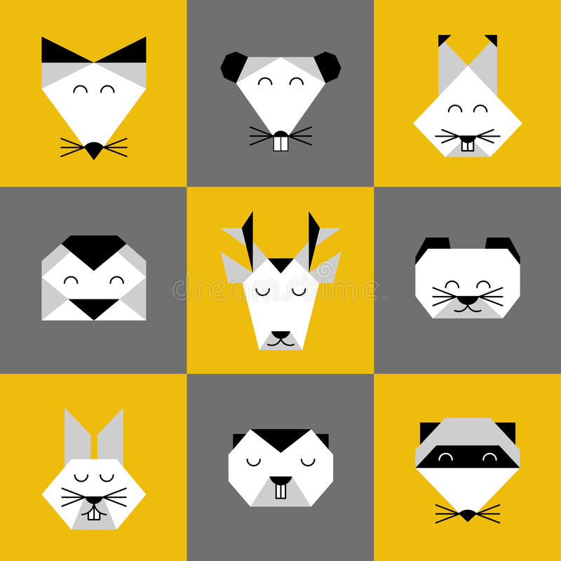 Animals forest origami 6. Stylized vector animals. Animal triangle heads. Vector origami animals. Geometric line design icon set. Vector origami animals for stock illustration
