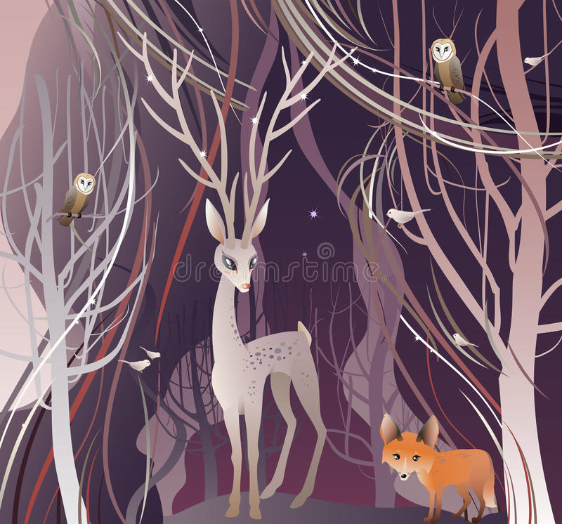 Animals in Forest. The vector illustration of the Animals in Forest. Deer, Red Fox, Owl, Birds. Deer Walk Through a Trees in Forest, Wood, Woodland. Vector vector illustration