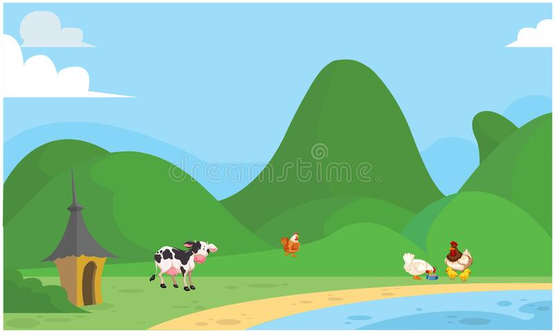 Animals are grazing grass near the river. S royalty free illustration
