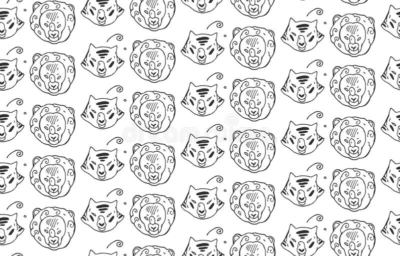 Animals heads drawings seamless pattern of predatory wild cat animals tiger and lion.Hand painted.Black and white animal pattern. stock illustration