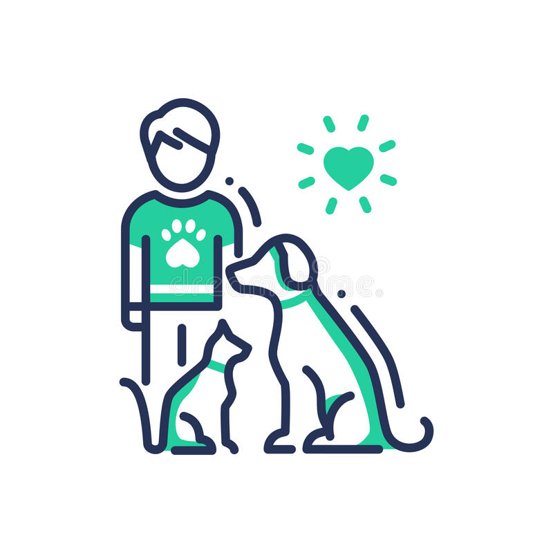Animals Help - modern vector line design single icon. Animals Help - modern vector single line design icon. An image of a human with cat and dog under heart sun royalty free illustration
