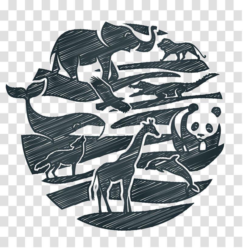 Animals icon pencil drawing vector illustration