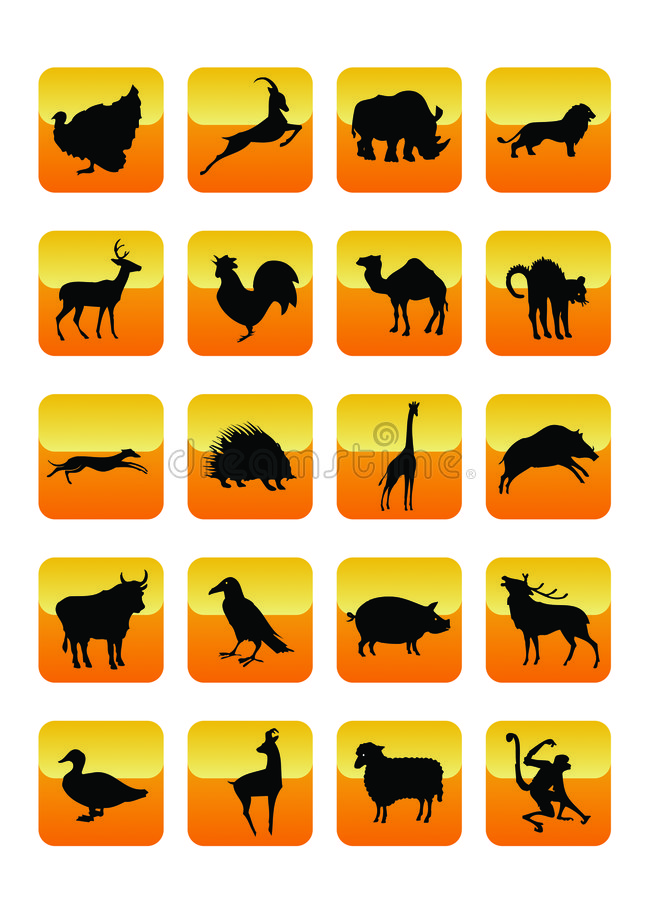 Animals Icons 01. Wild Animals Icons Set 01. Vector Illustration stock illustration