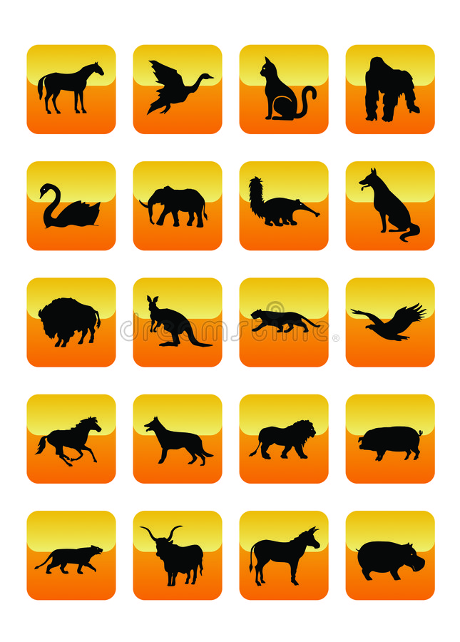 Animals Icons 02. Wild Animals Icons Set 02. Vector Illustration royalty free illustration