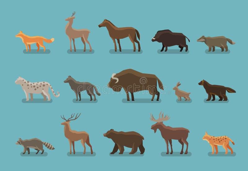 Animals icons. Wild boar. Animals icons. Boar, bear, fox, deer, horse, badger leopard wolf musk ox hare raccoon deer elk lynx wolverine royalty free illustration