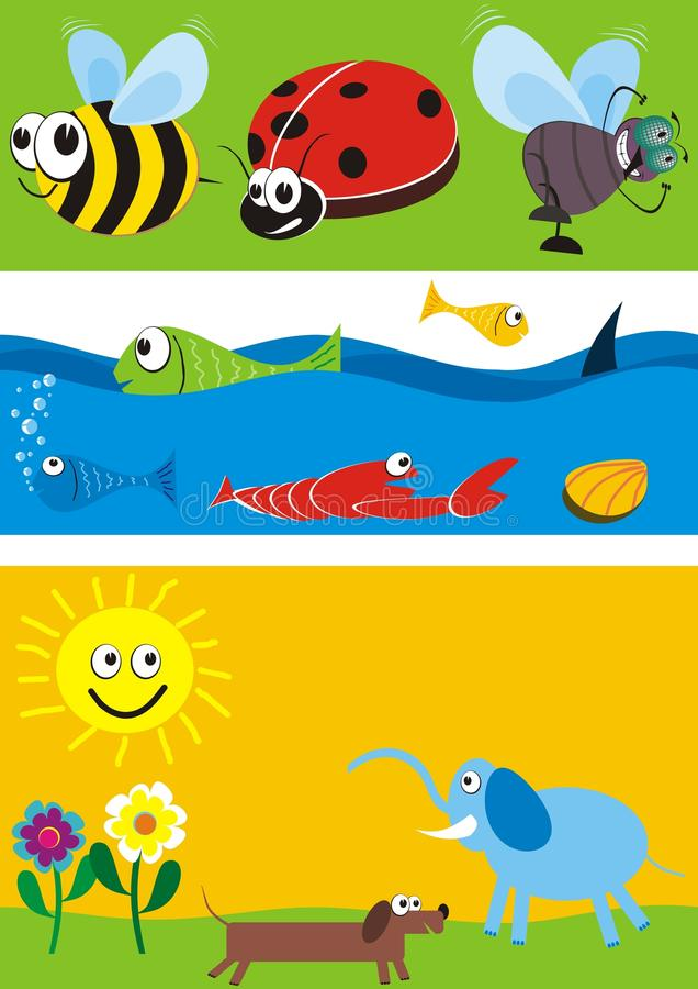 Animals Illustrations Set Stock Images