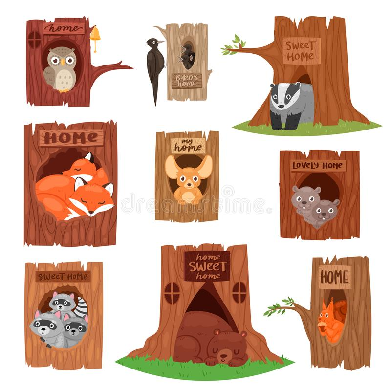 Free Animals In Hollow Vector Animalistic Character In Tree Hollowed Hole Illustration Set Of Birds Owl Or Bird On Treetops Stock Image - 118699341