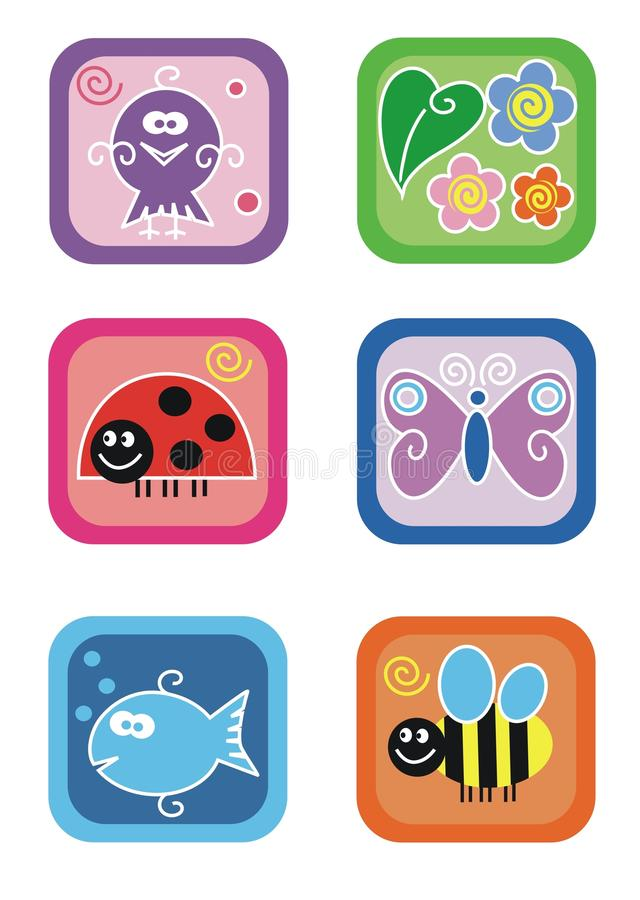 Download Animals, Insects And Flowers Stock Vector - Illustration of childhood, ladybug: 15662230