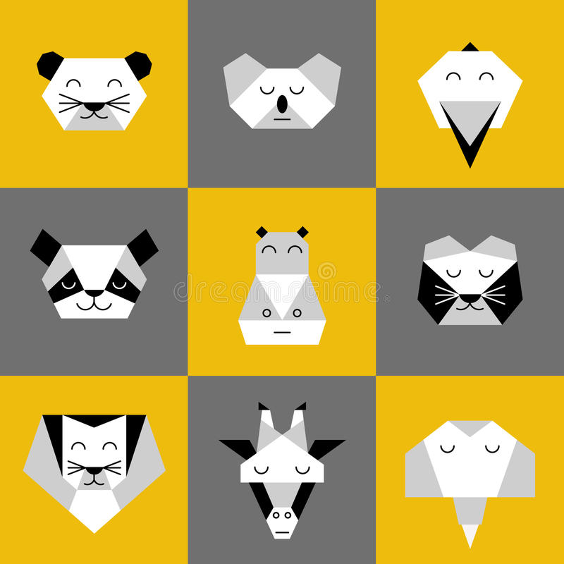 Animals jungle origami 6. Stylized vector animals. Animal triangle heads. Vector origami animals. Geometric line design icon set. Vector origami animals for stock illustration