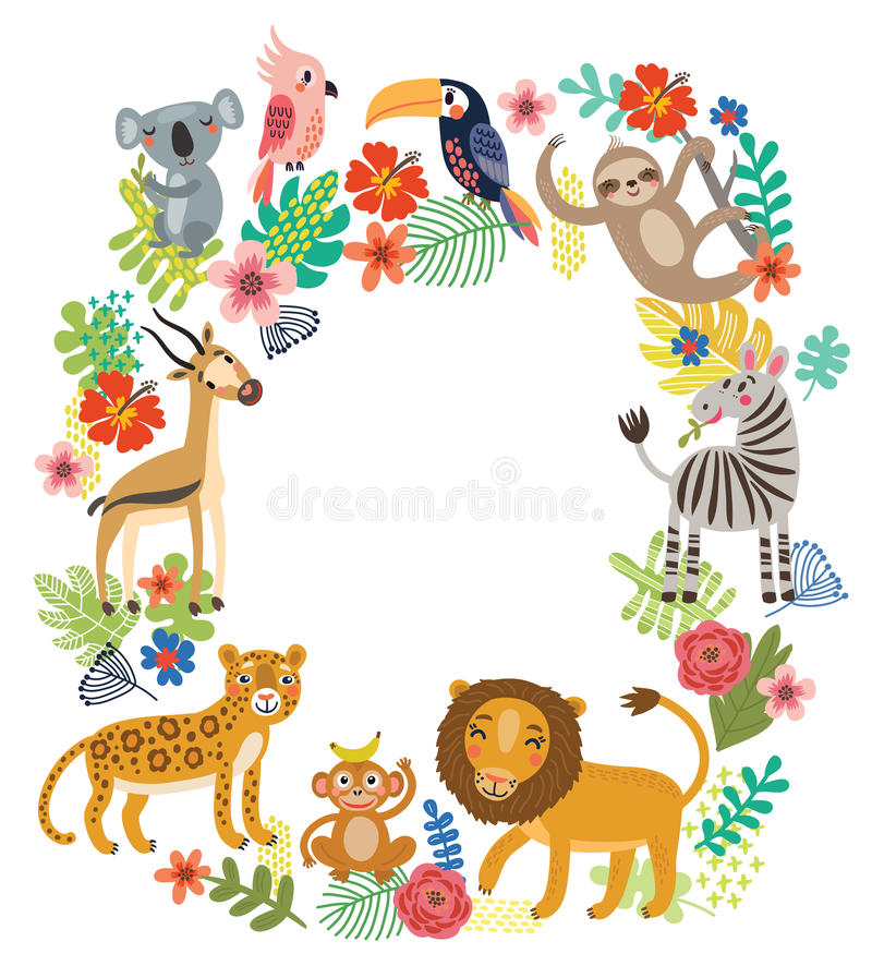 Animals of the jungle. Vector frame vector illustration