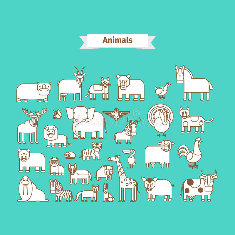 Animals Line Art Vector Icons vector illustration