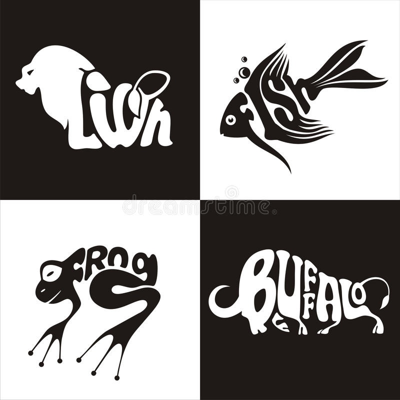 Animals logo buffalo, lion, frog, fish royalty free illustration