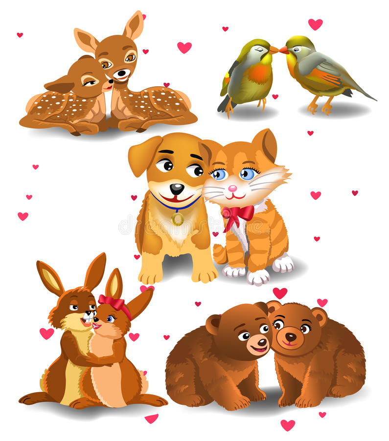Download Animals in love stock vector. Image of friendship, clip - 36756631