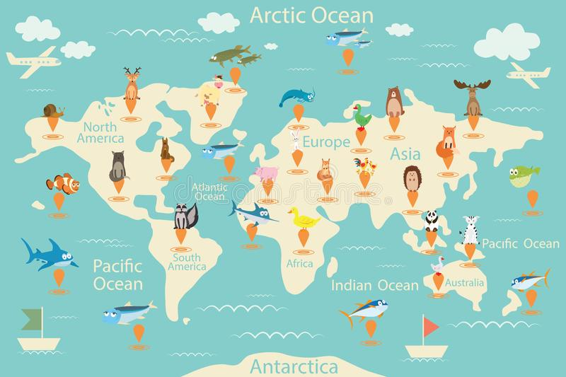Animals, map of the world. World map for children. Animals poster. Continent animals, marine life. South America, Eurasia, North A stock illustration