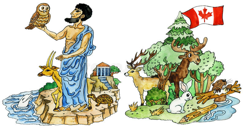 Download Animals-mascots Of Ancient Greece And Canada Stock Illustration - Image: 24069246