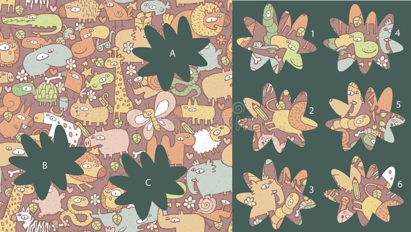 Animals: Match pieces, visual game. Solution in hidden layer! vector illustration