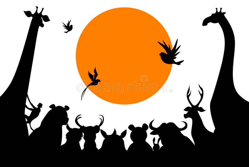 Animals meeting. Beautiful illustrated silhouette image of animals meeting