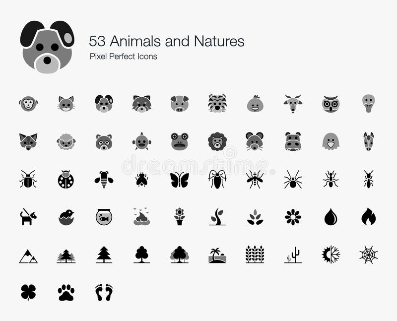 53 Animals and Natures Pixel Perfect Icons stock photo