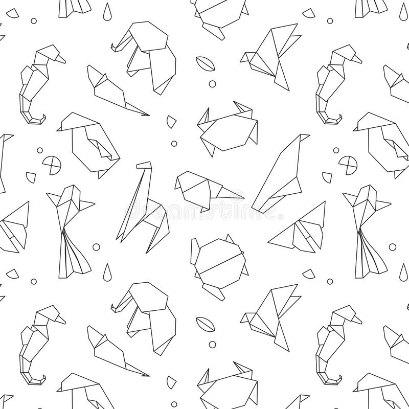 Download Animals Origami Pattern Lines Stock Vector