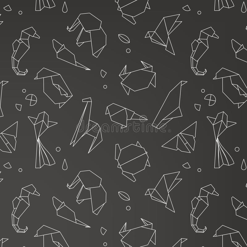Animals origami pattern. Snake, elephant, bird, seahorse, frog, fox, mouse, butterfly, pelican, wolf, bear, rabbit, crab, shark, horse, fish parrot monkey pig royalty free illustration
