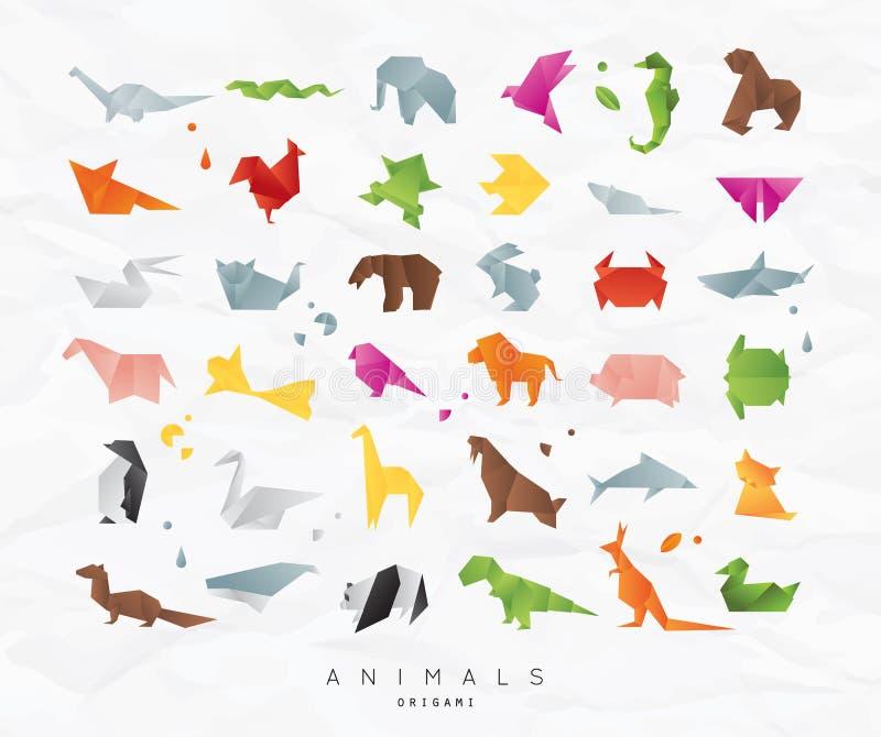 Animals origami set color royalty free illustration
