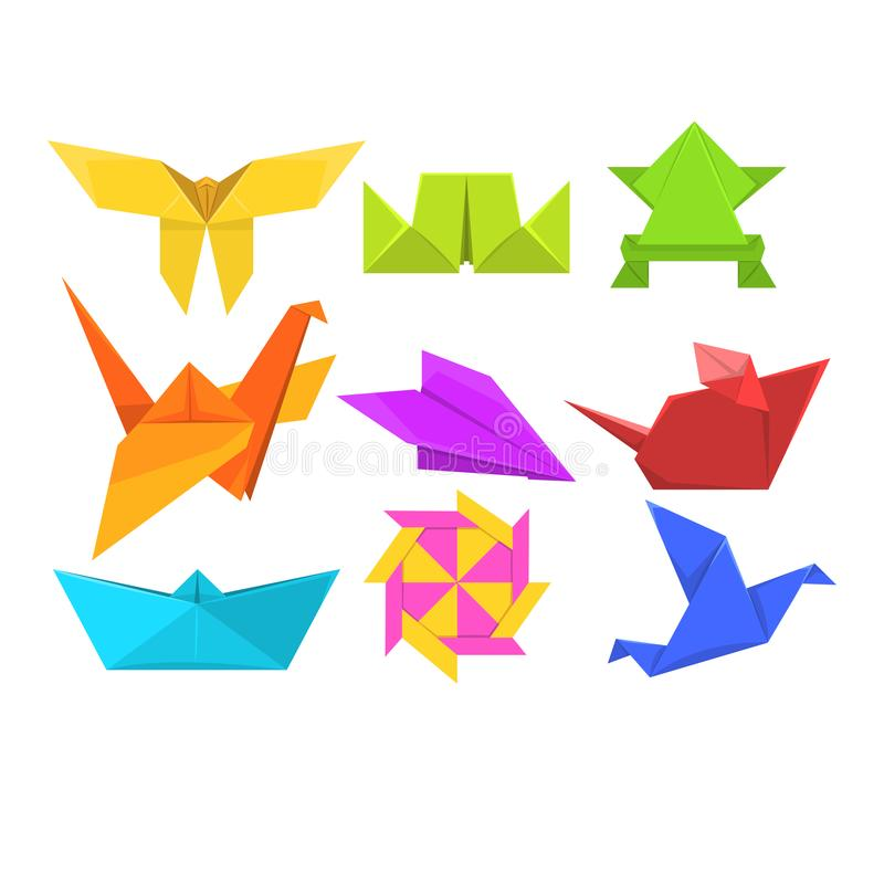 Animals origami set, geometric paper animals and birds vector Illustrations stock illustration