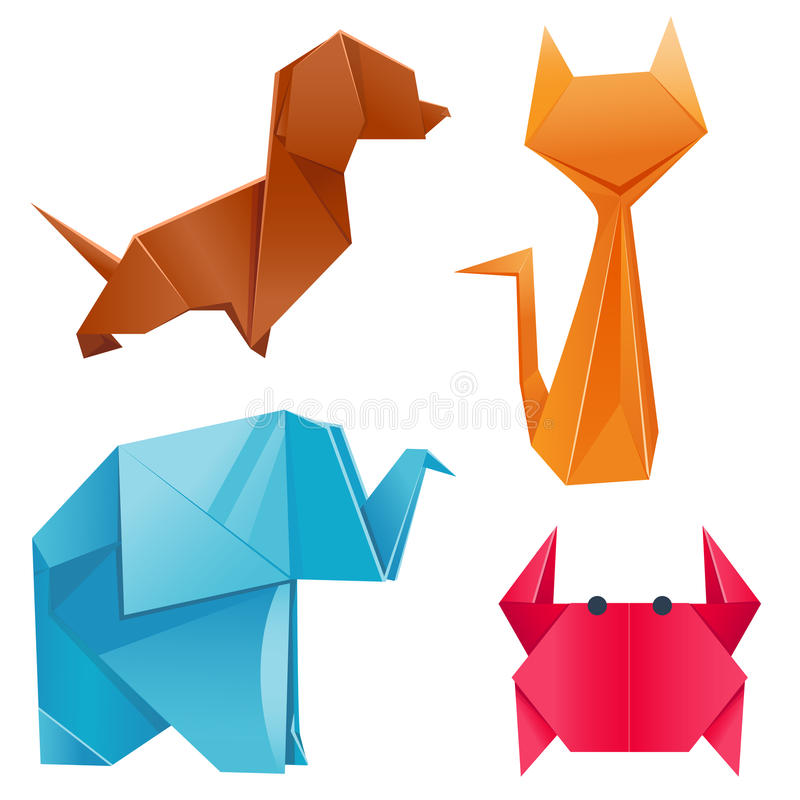 Animals origami set japanese folded modern wildlife hobby symbol creative decoration vector illustration. Animals origami set japanese folded modern wildlife vector illustration