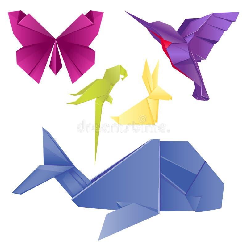 Animals origami set japanese folded modern wildlife hobby symbol creative decoration vector illustration. Animals origami set japanese folded modern wildlife stock illustration