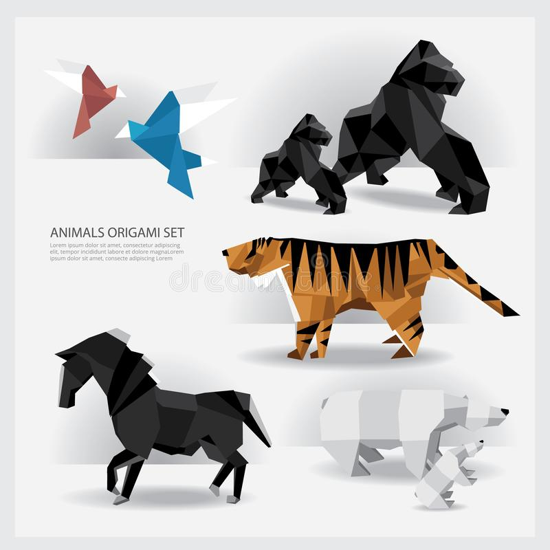 Animals Origami set royalty free illustration