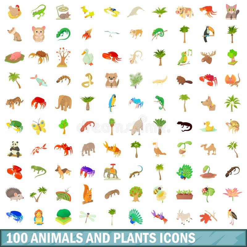 100 animals and plants icons set, cartoon style stock illustration