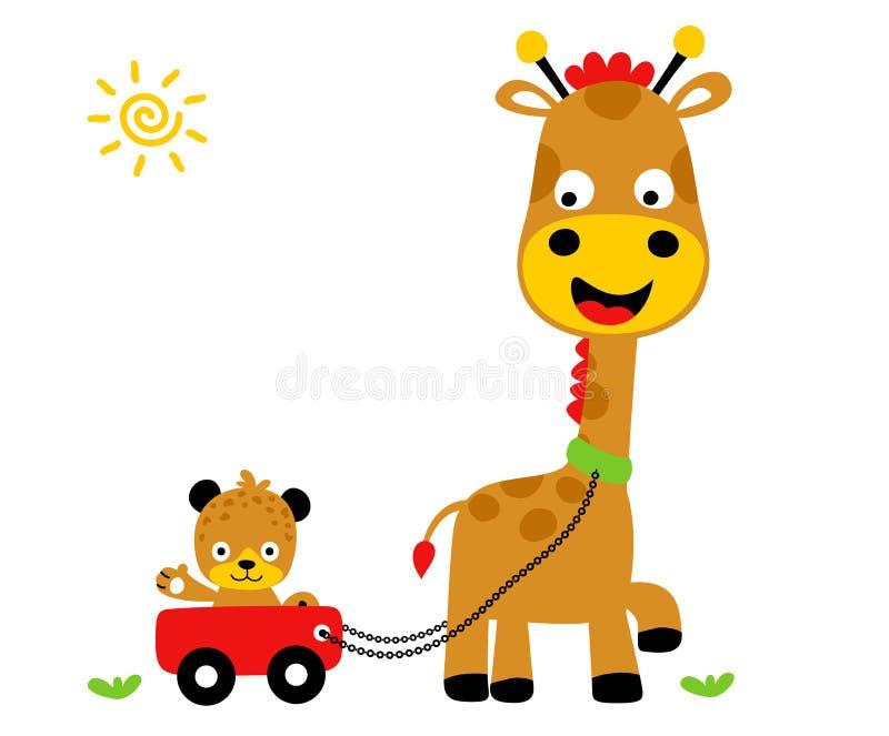 Animals playing time, Giraffe and tiger,  vector cartoon illustration royalty free illustration