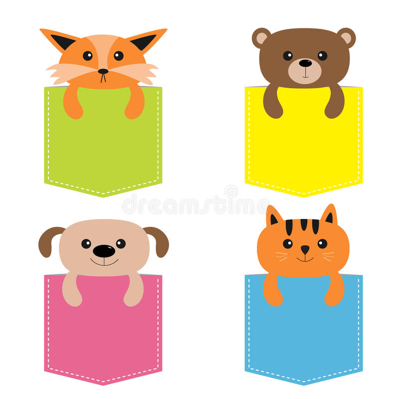 Animals in the pocket. Cute cartoon colorful dog, bear, fox, kitten kitty character. Dash line. Pet animal collection. on. White. T-shirt design. Baby royalty free illustration