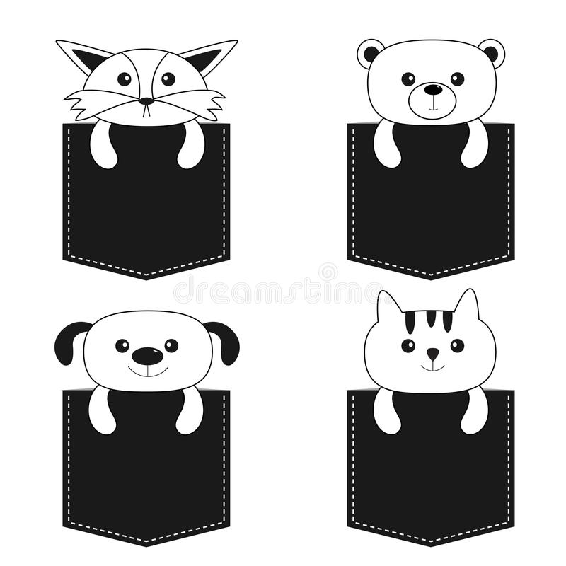 Animals in the pocket. Cute cartoon dog, bear, fox, kitten contour kitty character. Dash line. Pet animal collection. White and black color. T-shirt design stock illustration