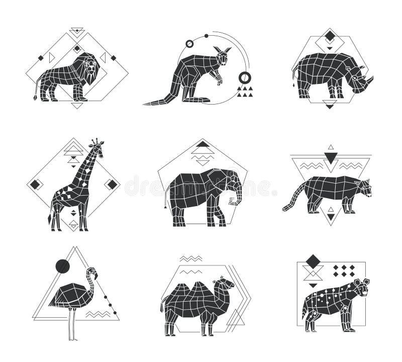 Animals Polygonal Monochrome Emblems royalty free illustration