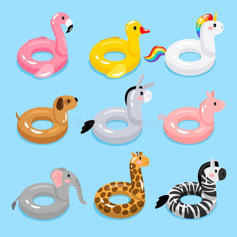 Animals pool float rings. Kids swimming rings with animal heads. Baby water floating duck and flamingo, unicorn and giraffe lifebuoys, children cartoon sea stock illustration