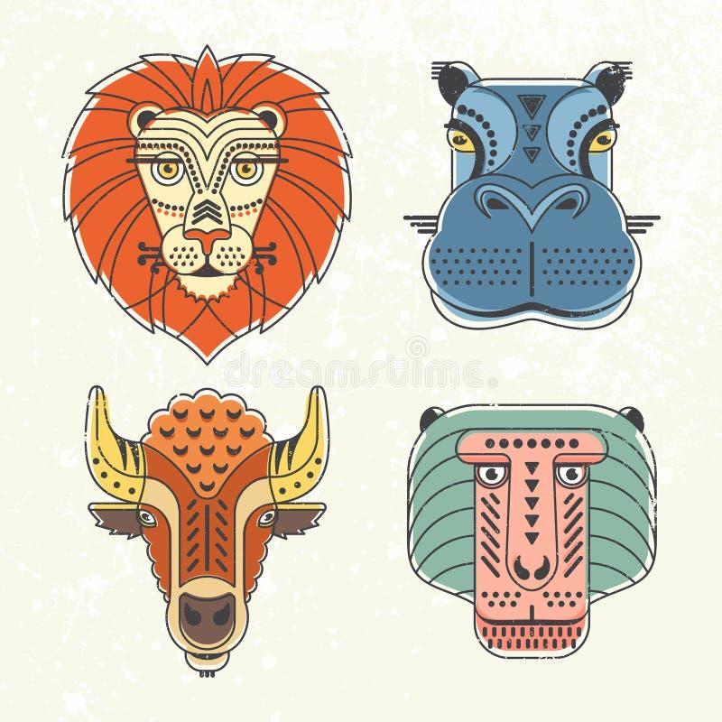 Animals portraits vector illustration