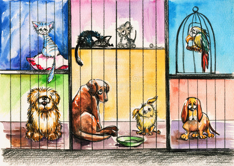Download Animals pound stock illustration. Image of cage, doggy - 24852084
