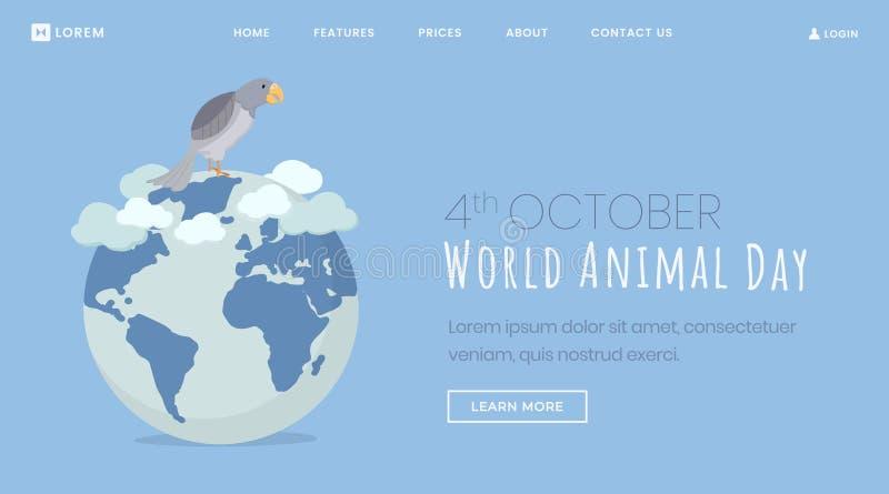 Animals protection day landing page template. Cartoon pet bird, parrot sitting on globe hand drawn illustration. October vector illustration