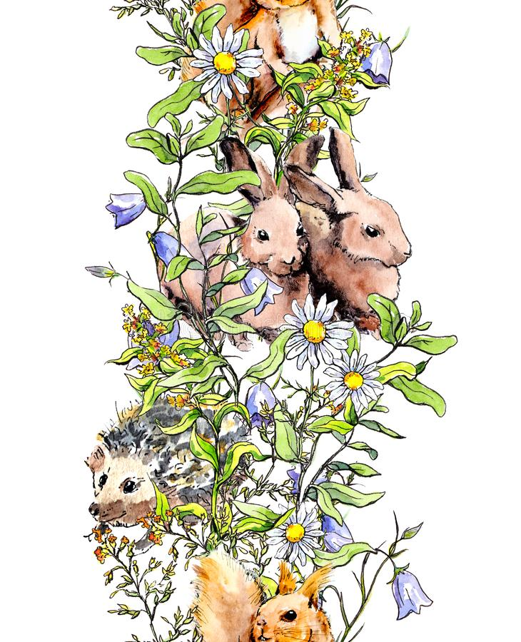 Animals - rabbits, squirrel, hedgehog in grass, blossom flowers. Seamless border banner. Watercolor in sketch style. Animals - rabbits, squirrel, hedgehog in stock photos