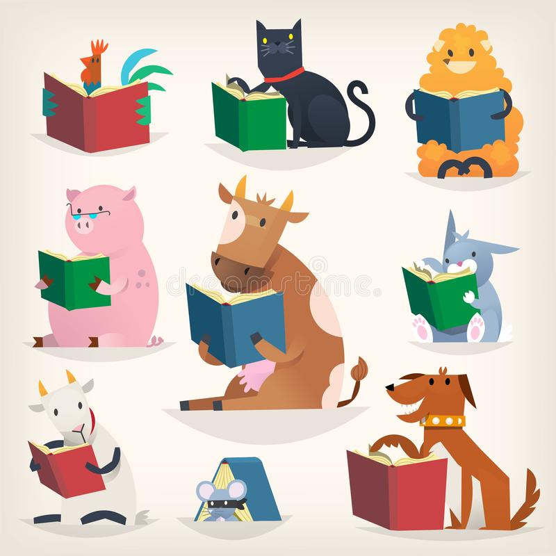 Animals reading books with stories and translating other languages. Trying to understand others. Vector images for library posters and other designs royalty free illustration