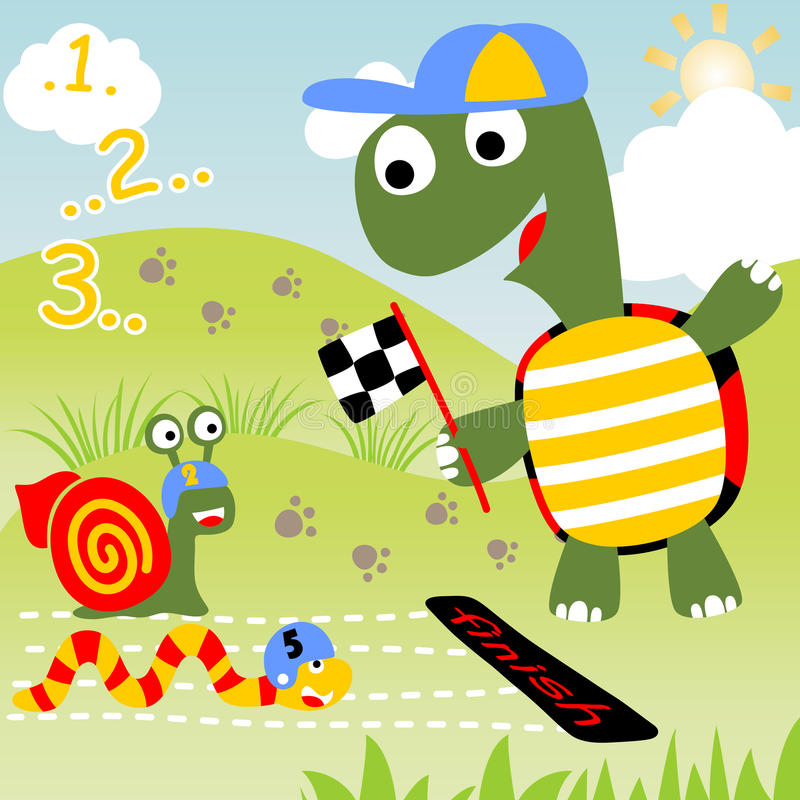 Animals run race royalty free illustration