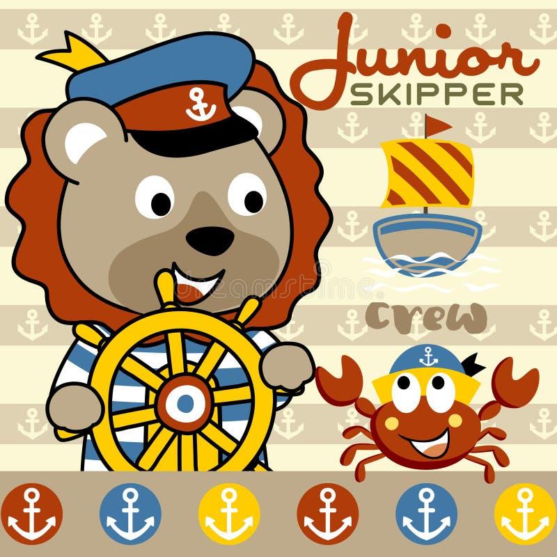 Animals sailor cartoon vector royalty free illustration