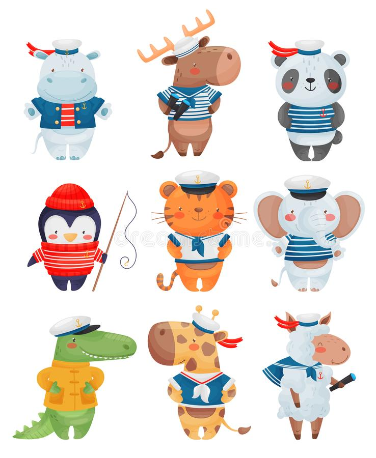 Animals sailors characters in cartoon style. Set of cute funny little sailors vector illustration. stock illustration