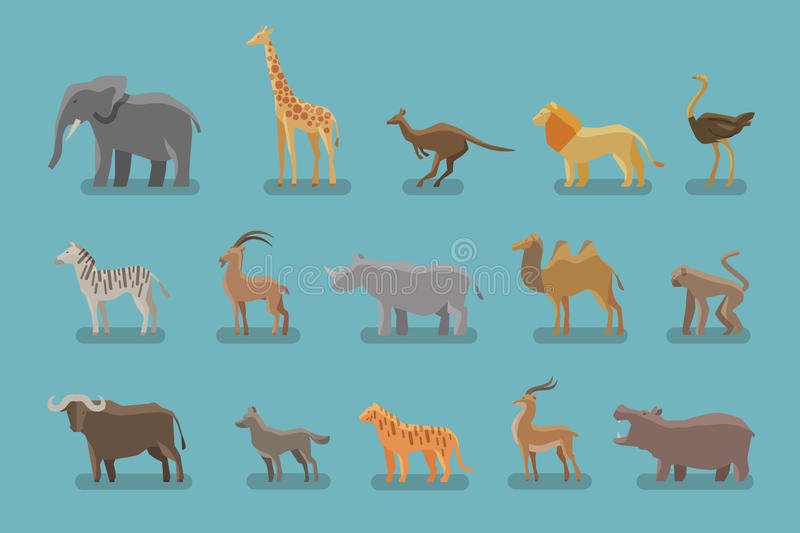 Animals set of colored icons. Vector symbols such as elephant, giraffe, kangaroo, lion, ostrich, zebra, mountain goat vector illustration
