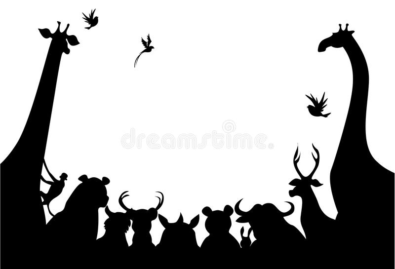 Animals silhouette. Beautiful illustrated silhouette image of animals meeting
