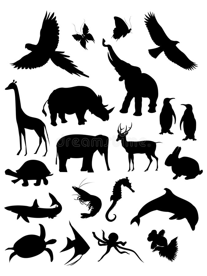 Download Animals silhouette stock vector. Illustration of dove - 6161928
