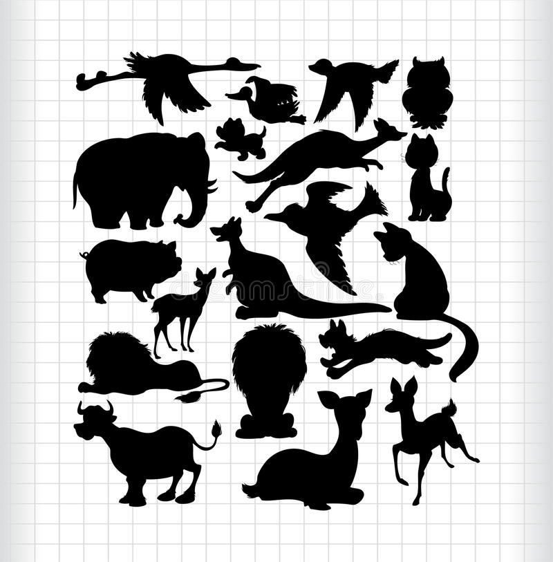 Download Animals silhouettes stock vector. Image of black, symbol - 16794385