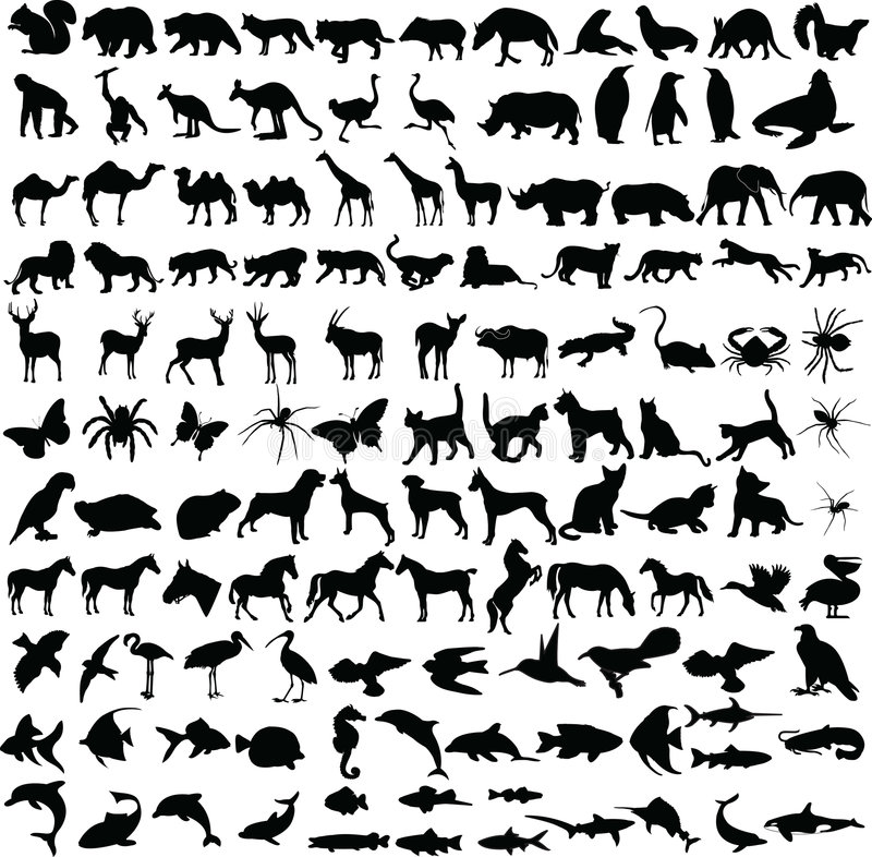Free Animals Silhouettes Collection Stock Photography - 7864262