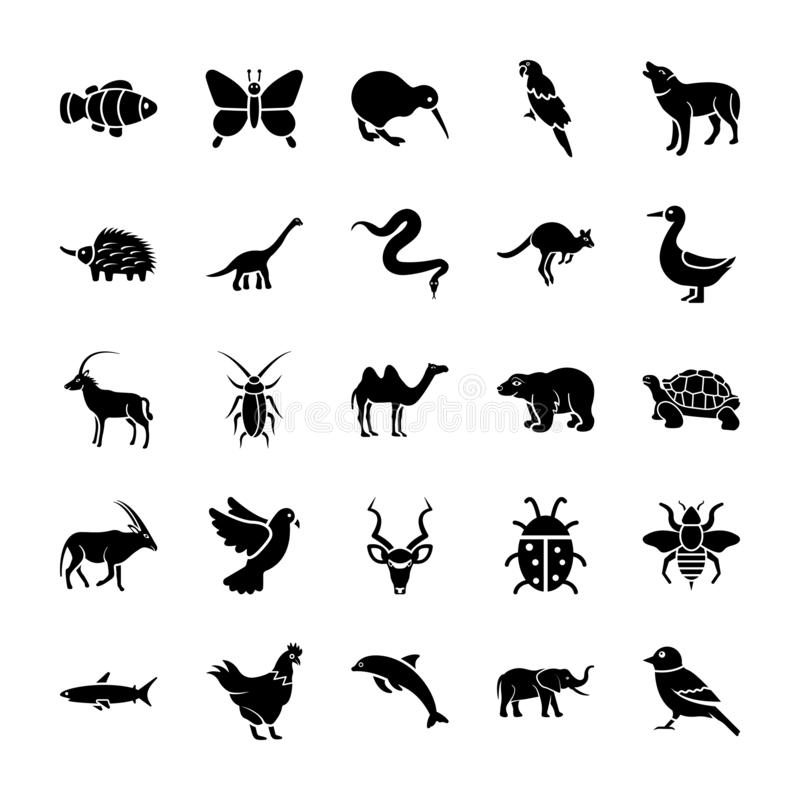 Animals Solid Icons stock illustration