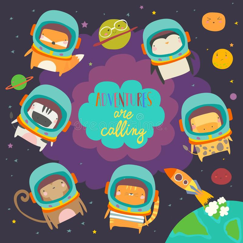 Cute animals in space. Funny animals wearing space suits. Animals in space. Vector illustration vector illustration